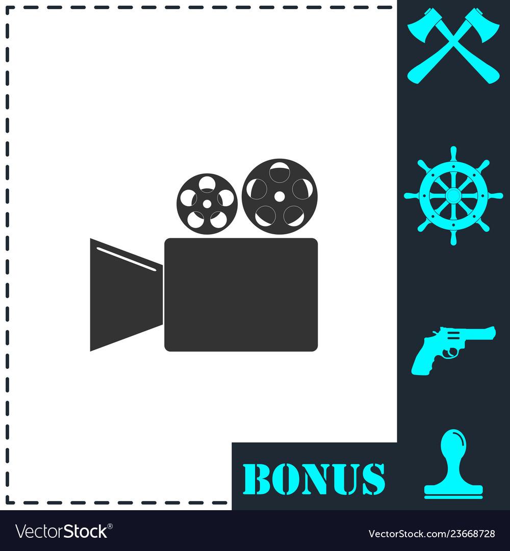 Cinema camera icon flat