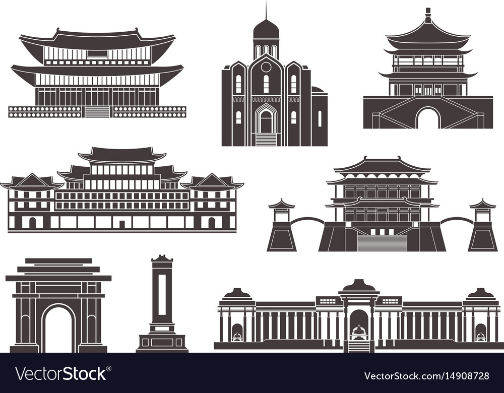East asia isolated asian buildings on white