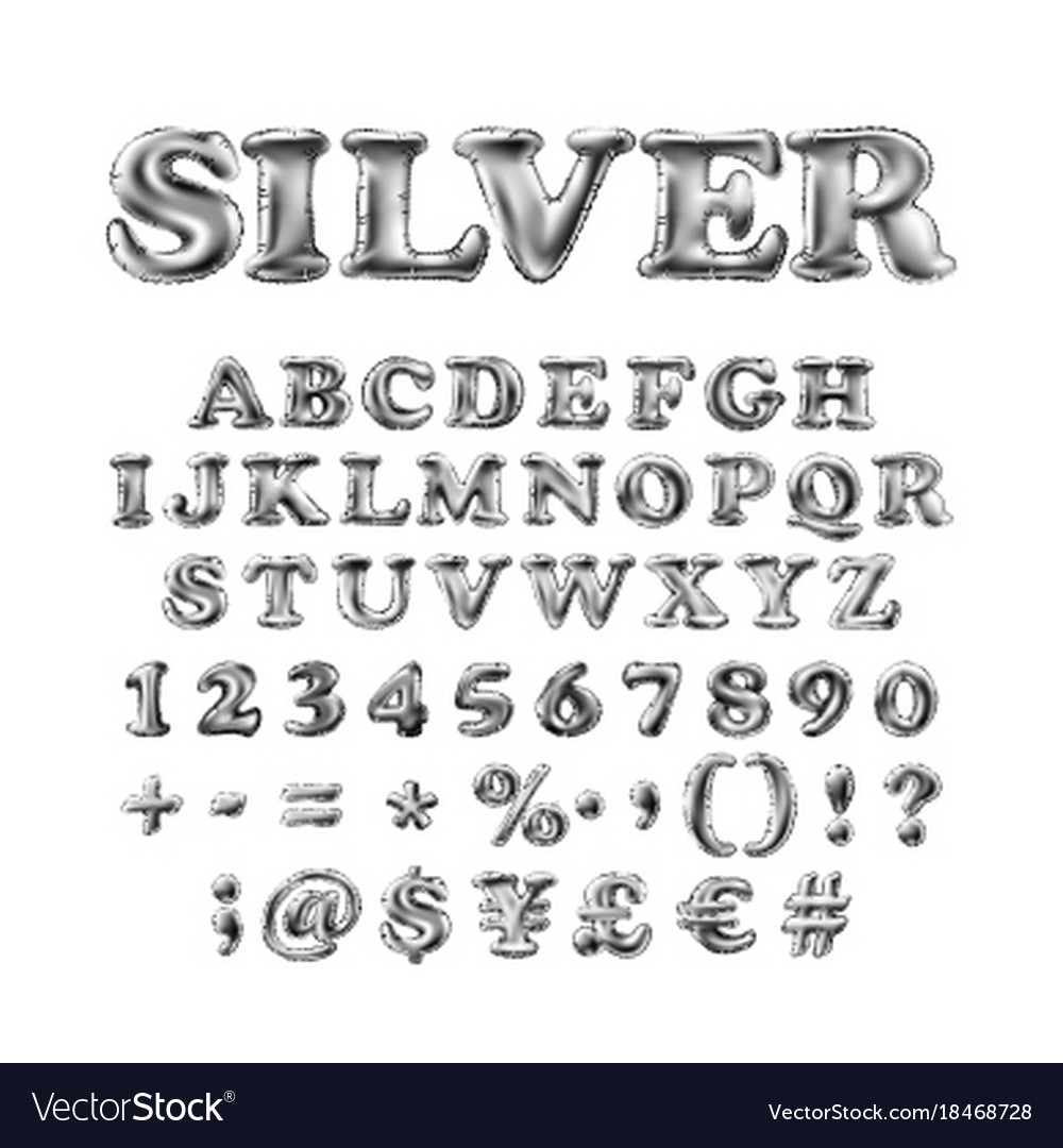 Full english alphabet of silver inflatable