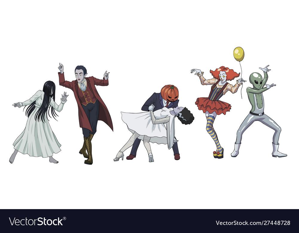 Fun Dancing Halloween Monsters Scary Girl Vampire Vector Image