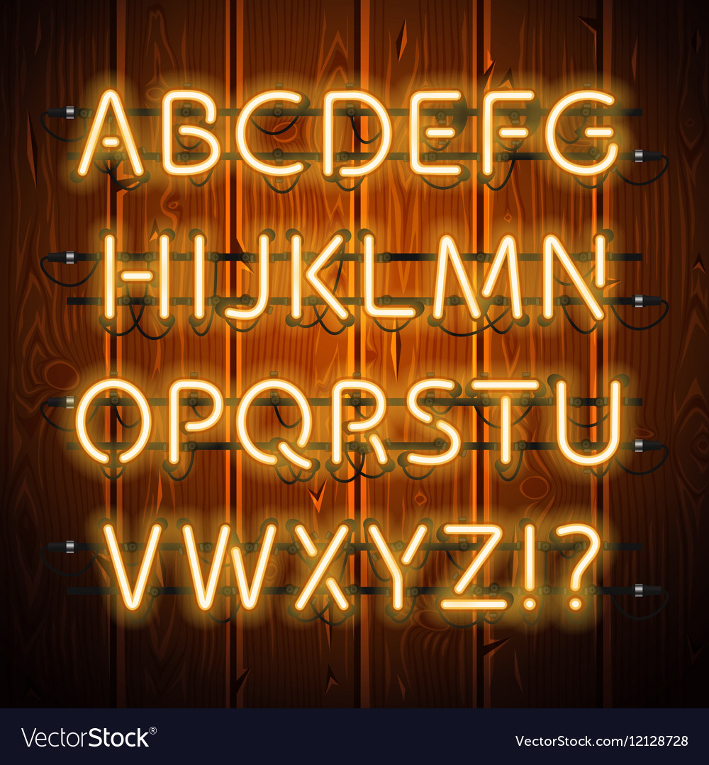 Glowing Neon Alphabet on Wooden Background vector image