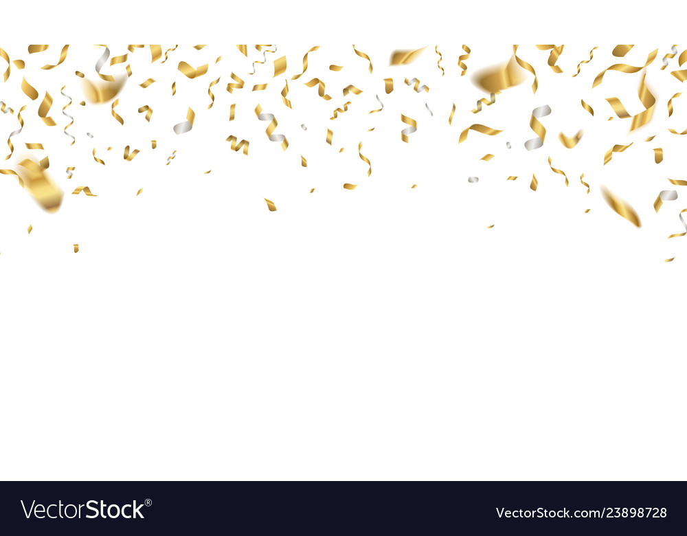 Golden celebration confetti falling party ribbons