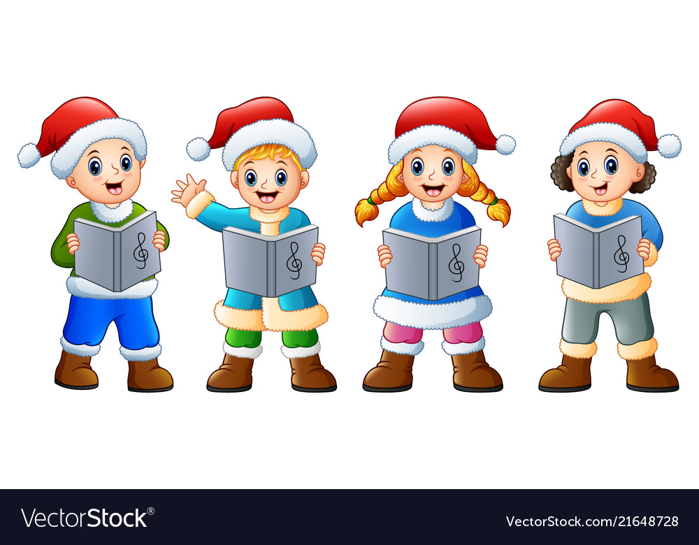Group of kids in santa cost