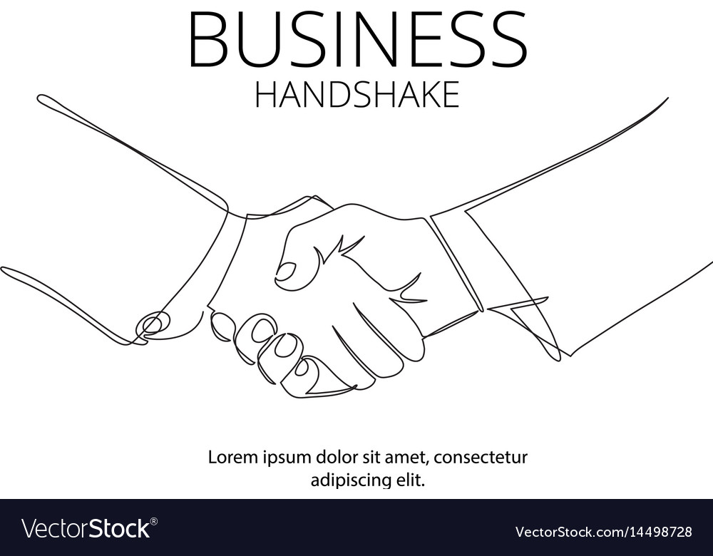 Handshake continuous line drawing business vector image