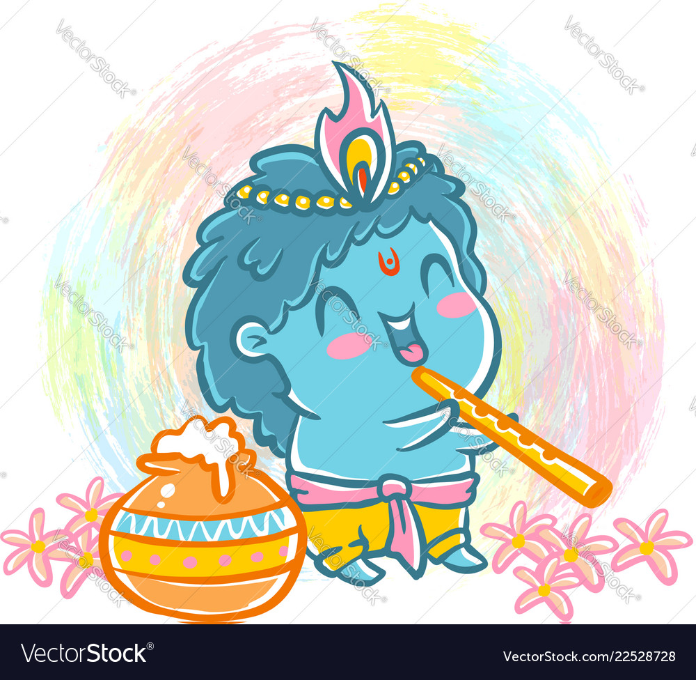Little krishna in kawaii style