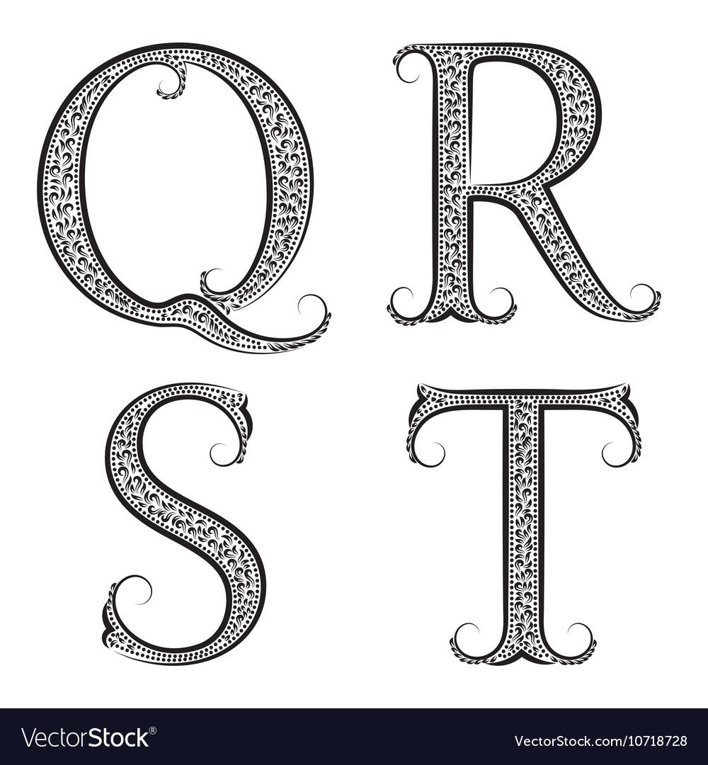 Q R S T vintage patterned letters Font in floral