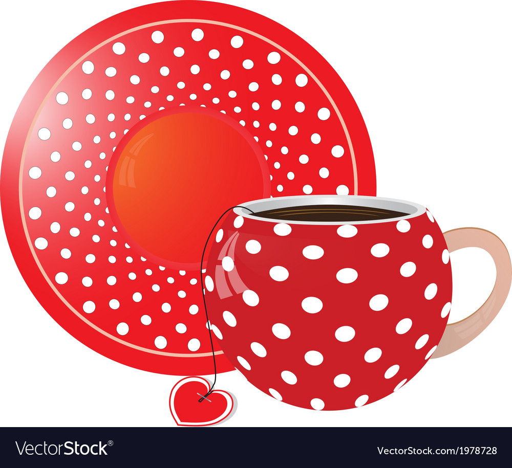 Red with white dots Cup and saucer