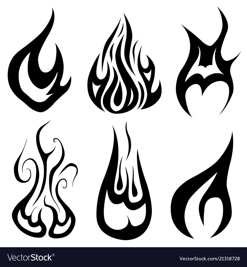 Set of different flames