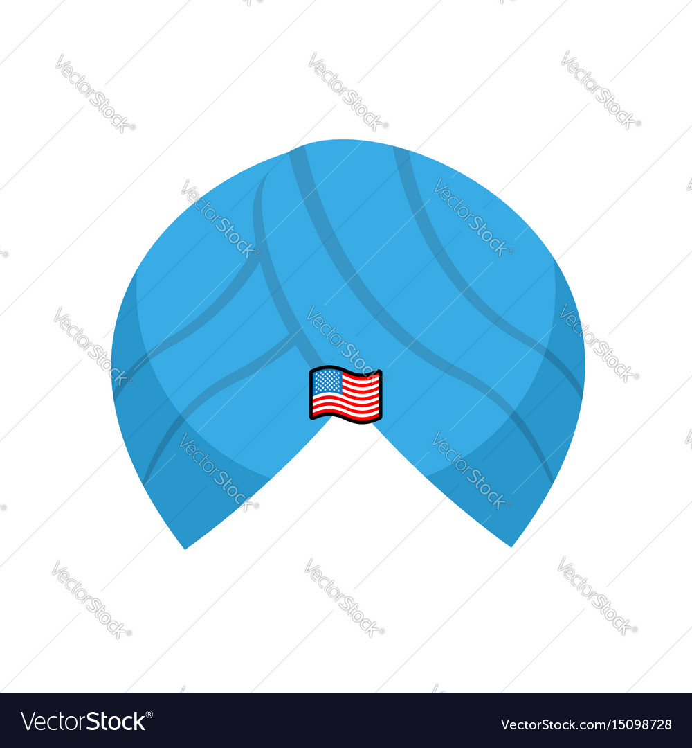 Turban with badge american flag oriental vector image