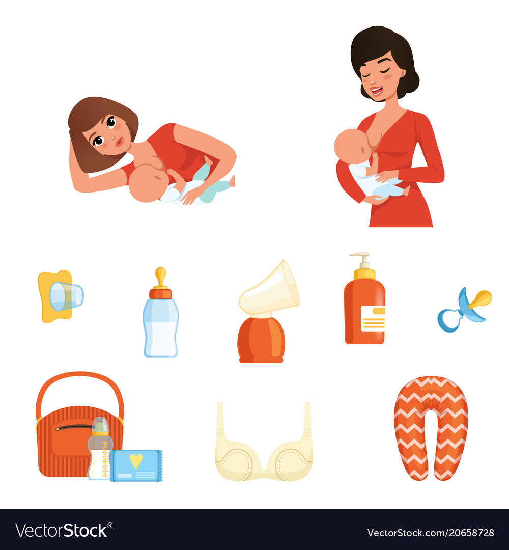 Two young moms and items related to breastfeeding vector image