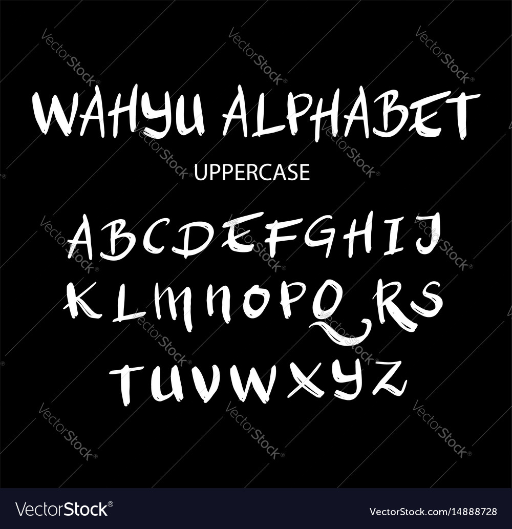 Wahyu uppercase alphabet typography vector image