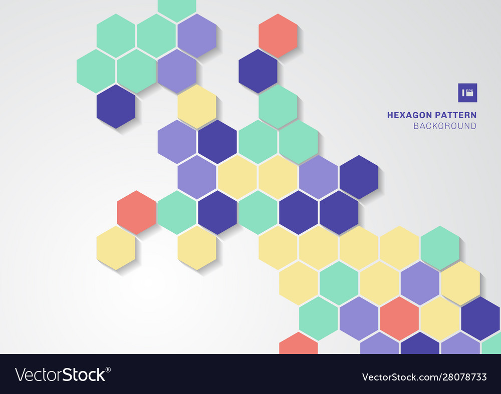 Abstract colorful hexagons shape minimal pattern