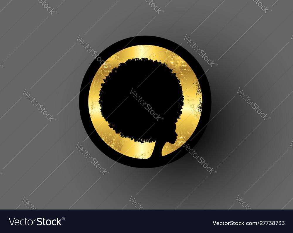 Afro logo design gold luxury diadem curly hair