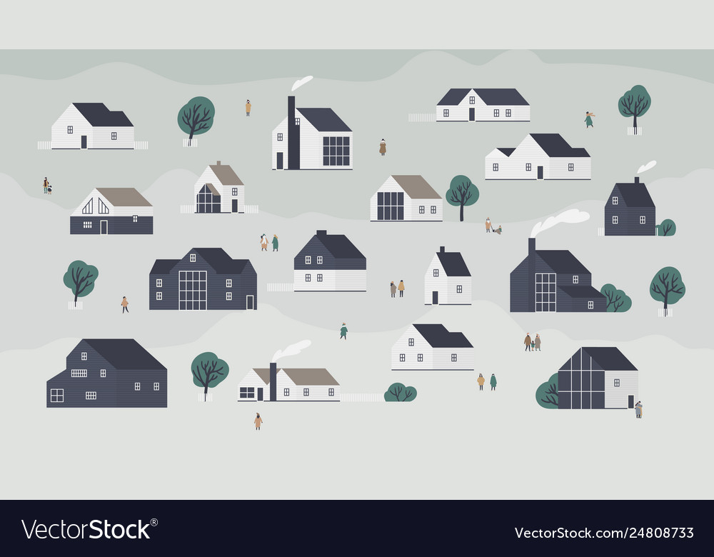 Banner with different houses in scandic style or