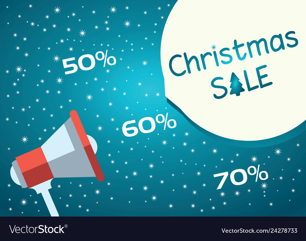 Christmas sale blue background with megaphone