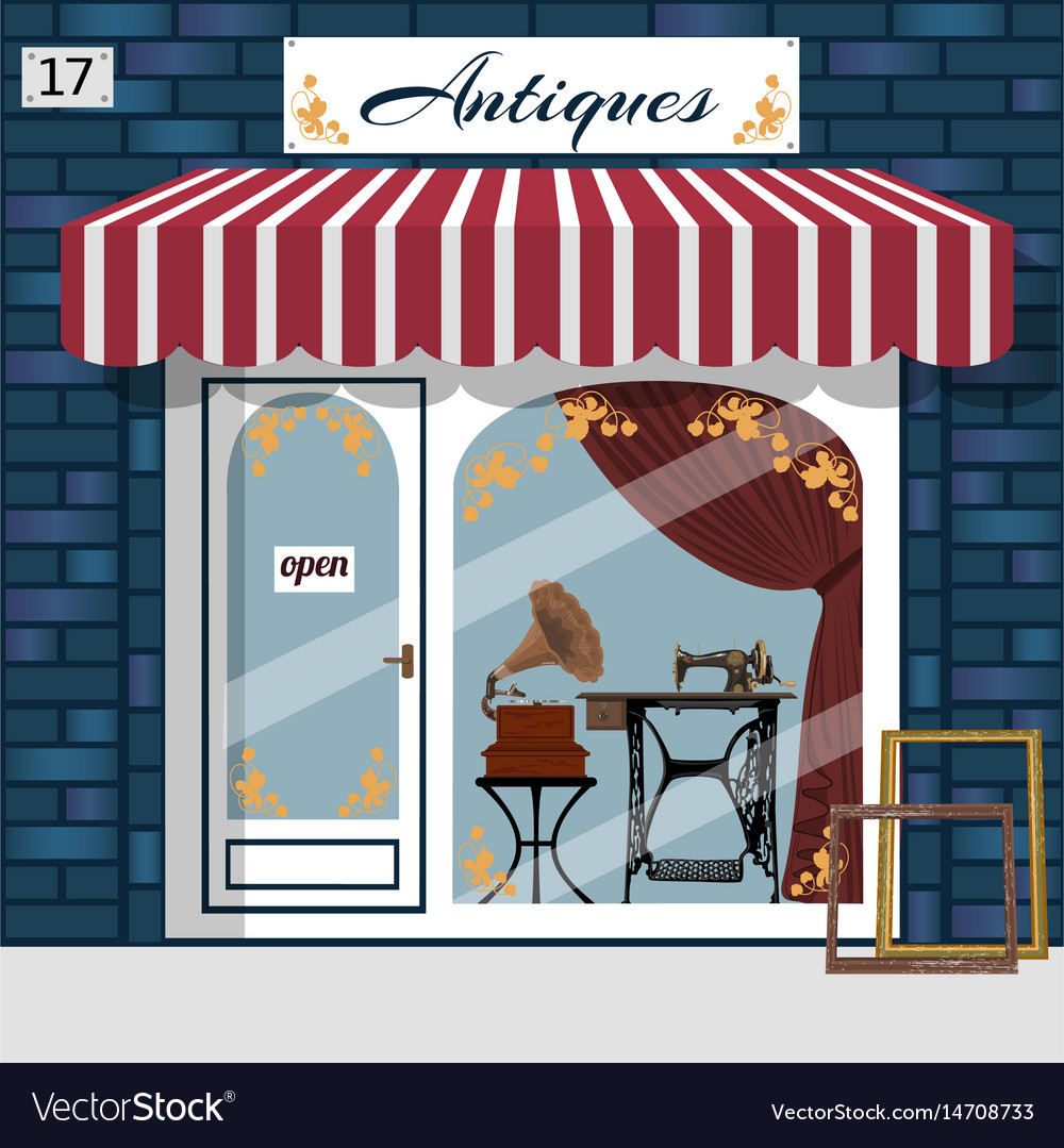 Curiosiry shop antiques shop vector image