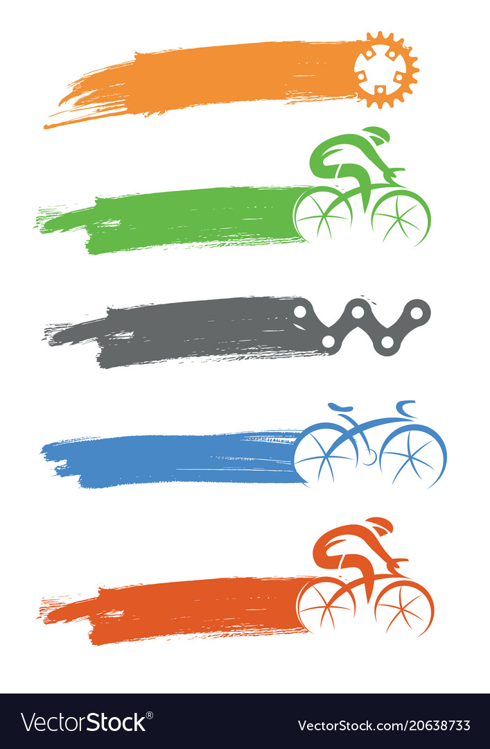 Cyclists and cycling components icons with brush vector image