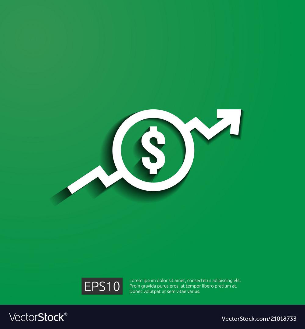 Dollar increase icon money symbol with arrow