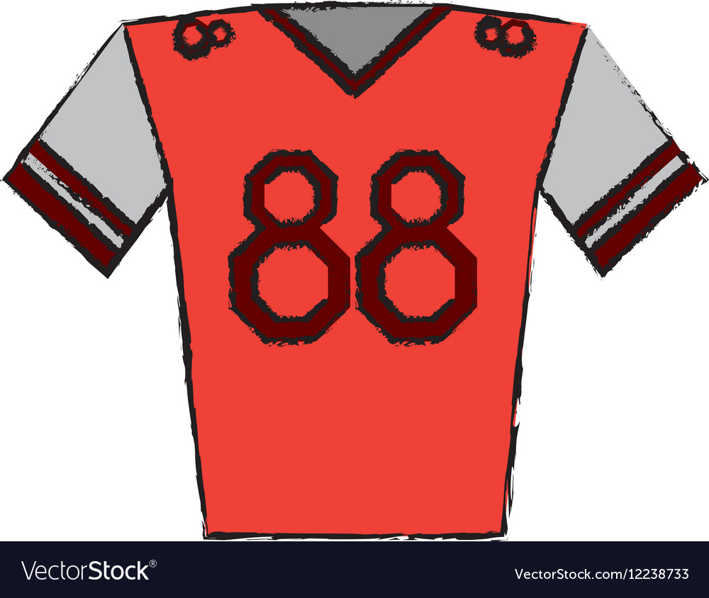 Drawing red jersey player american football