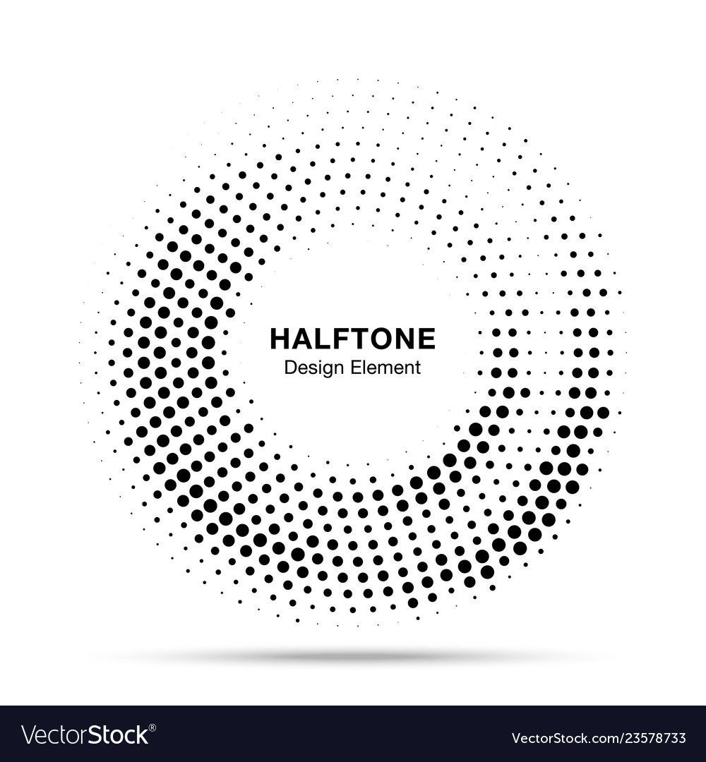 Halftone circle dotted frame round border