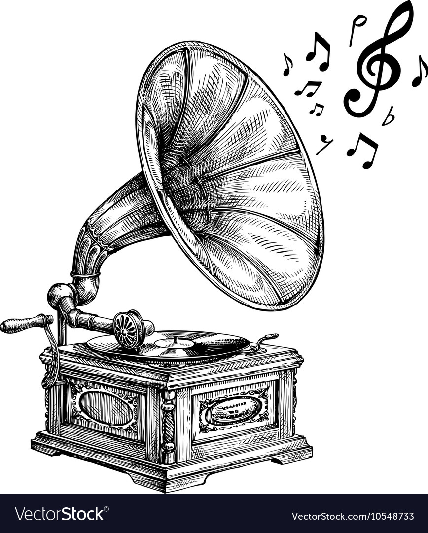 Hand-drawn vintage gramophone with music notes