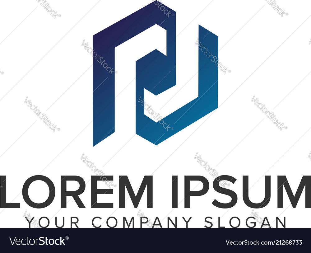 Letter p hexagonal logo design concept template