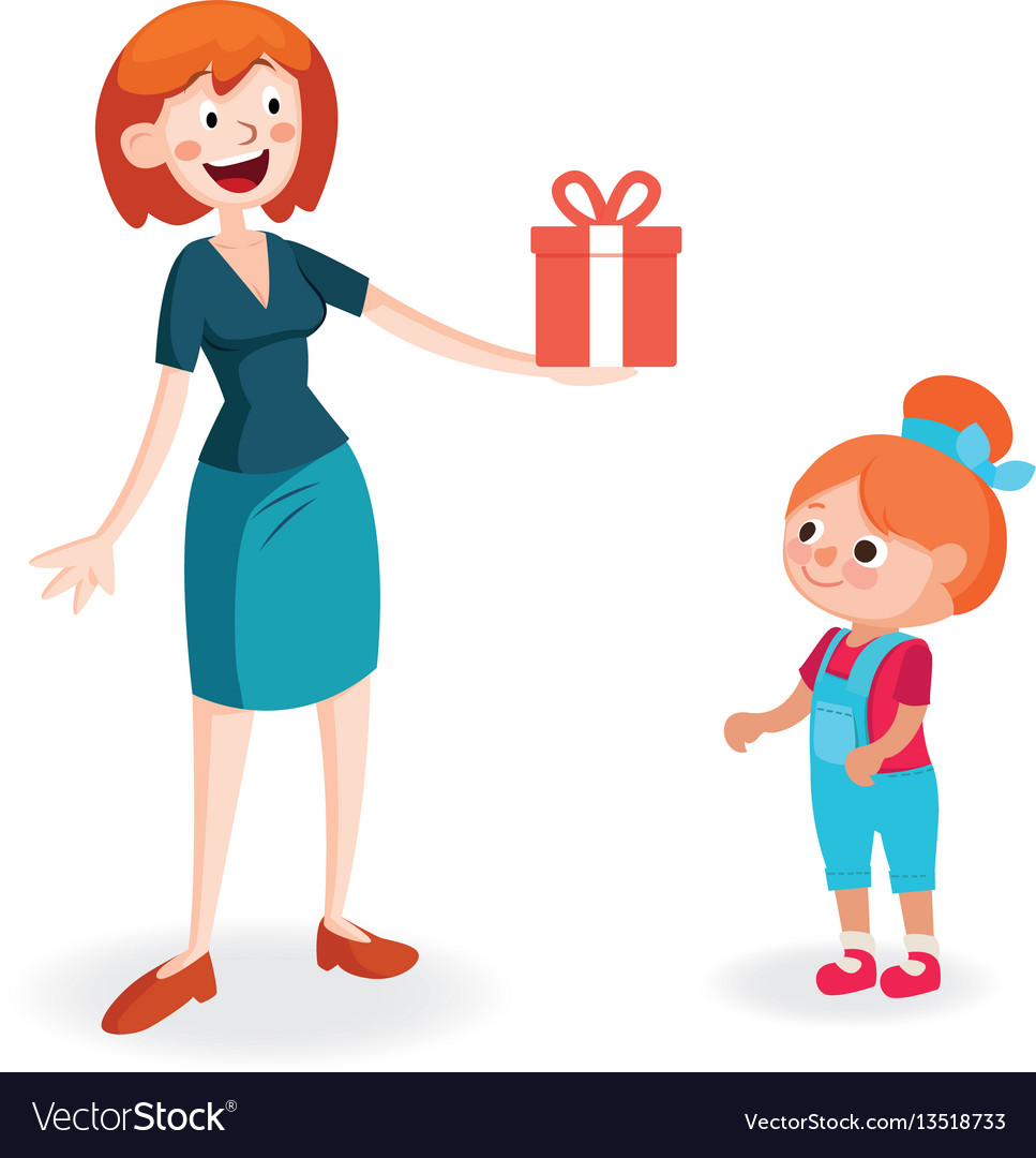Mother Giving Gift To Daughter Royalty Free Vector Image