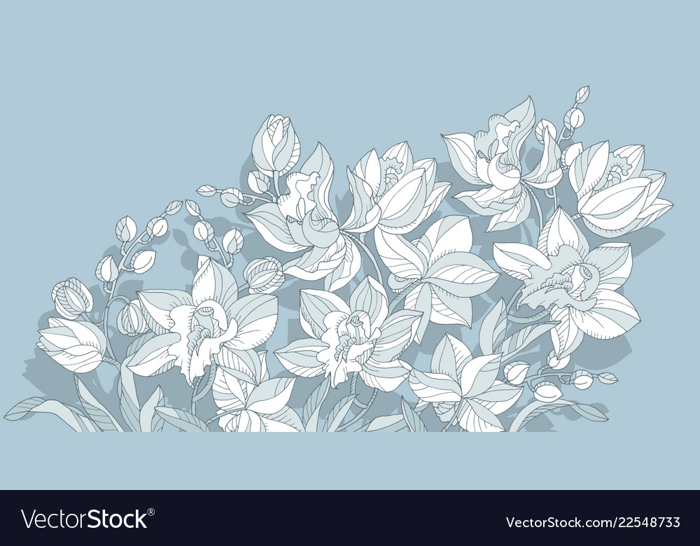 Orchid flower design element in dust blue color