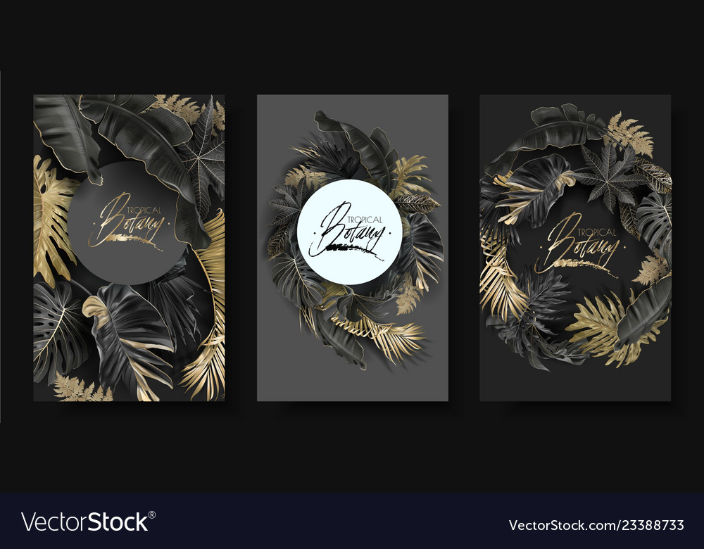 Round banners set with gold tropical leaves
