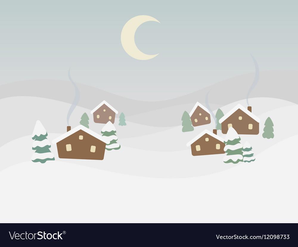 Rural winter landscape cartoon