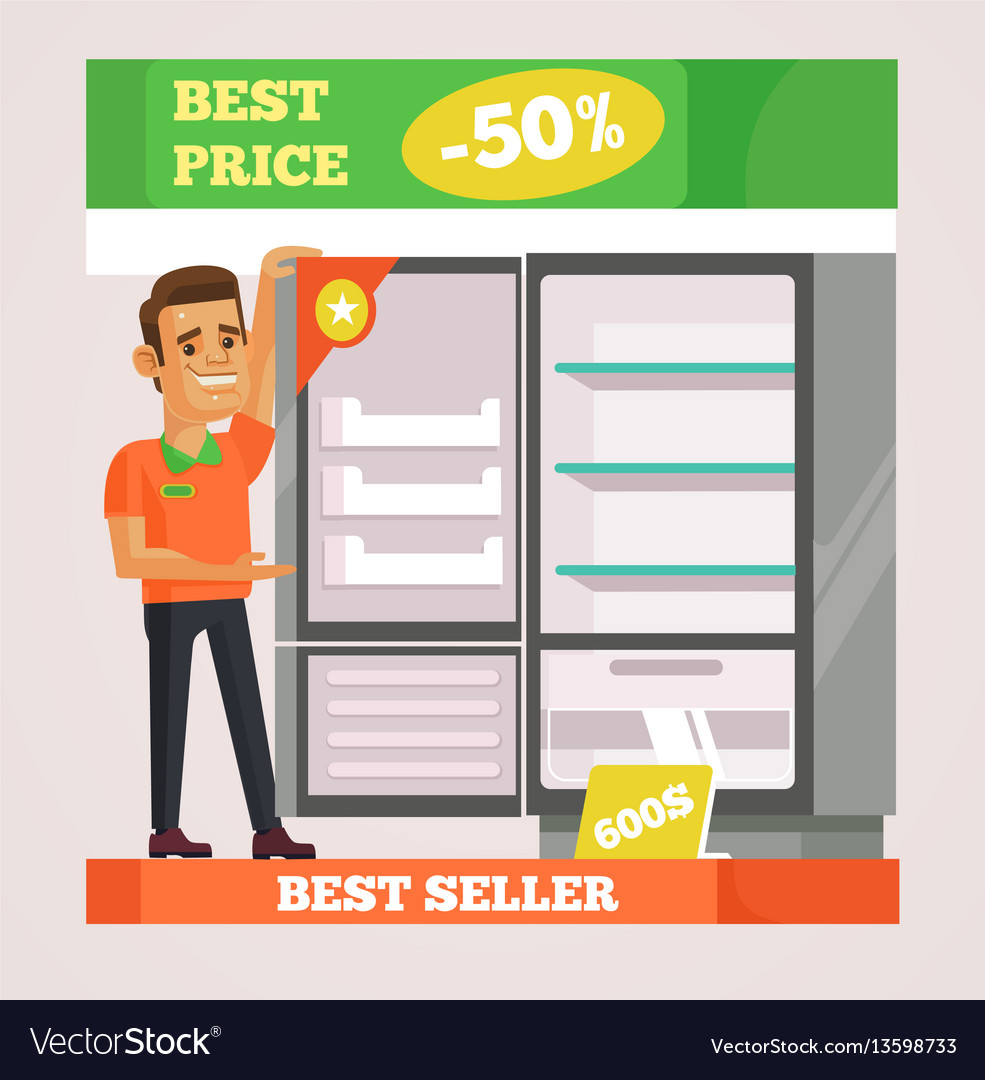Shop assistant man character selling appliances vector image