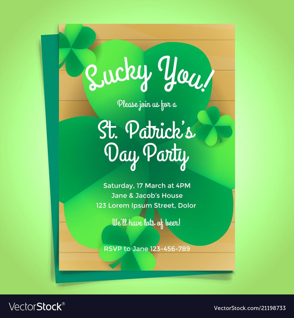 St patricks day invitation with shamrock