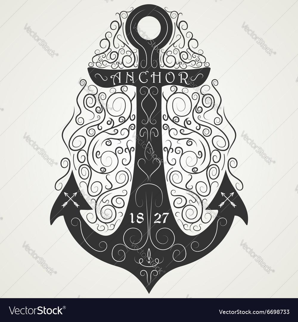 Vintage hand drawn logo flourish anchor