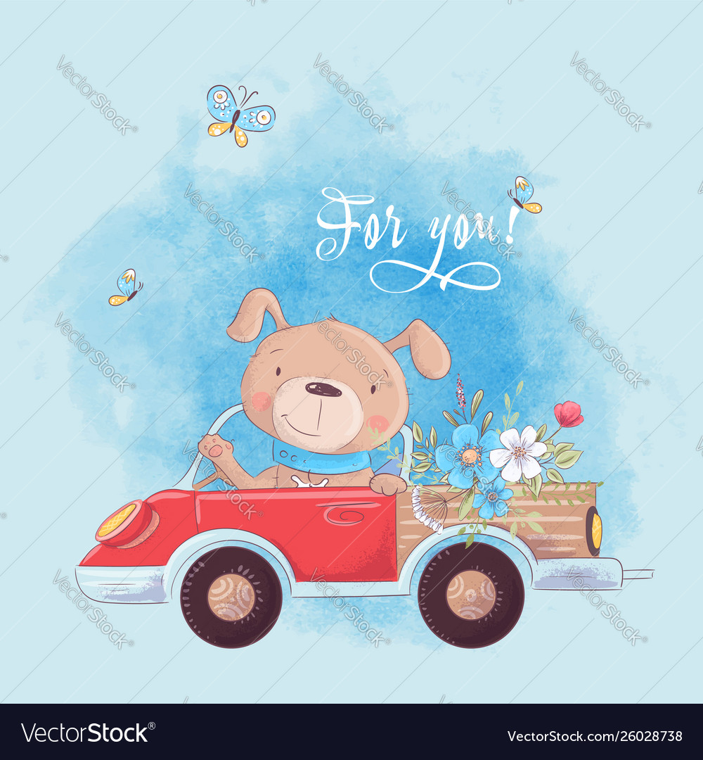 Cute cartoon dog on a truck with flowers postcard