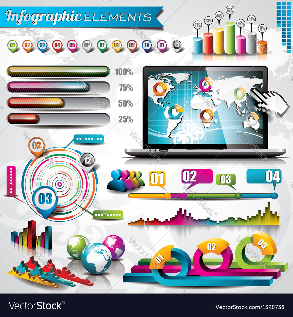 Design set of infographic elements and laptop