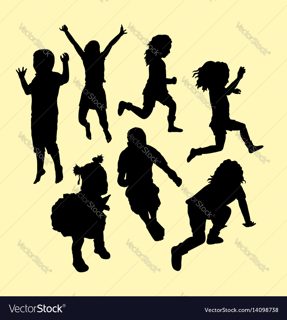 Happy kid running and jumping silhouette