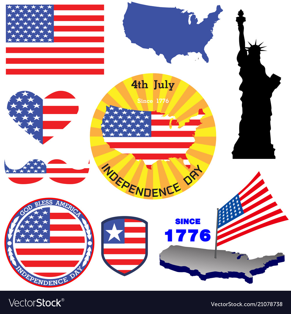 Independence day badge and label