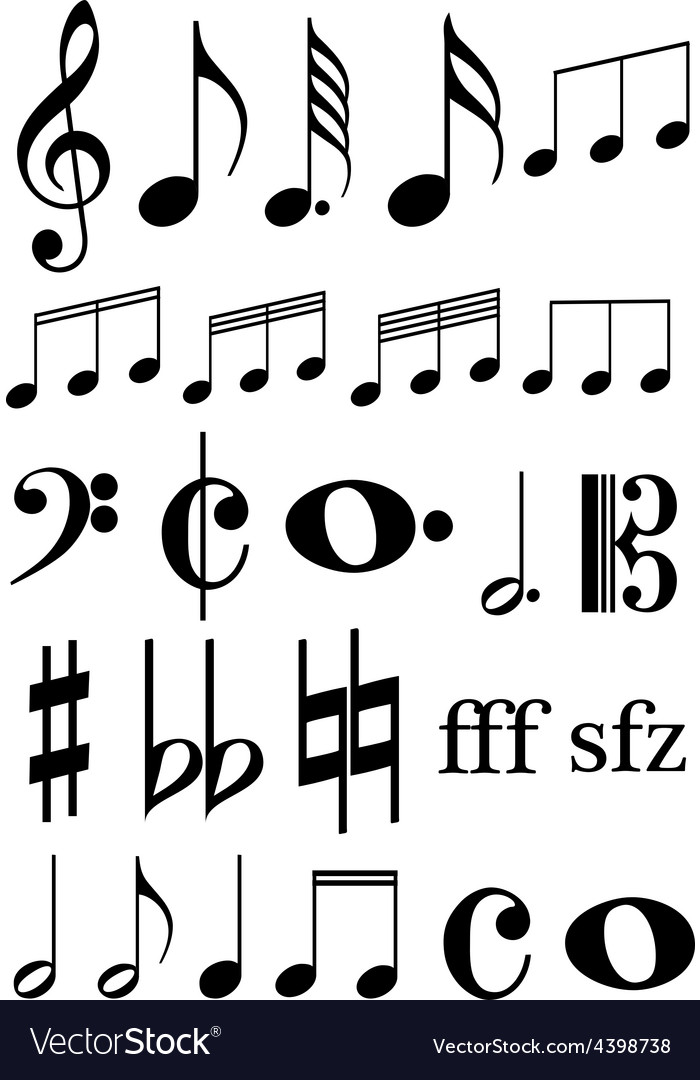 Music notes icons set