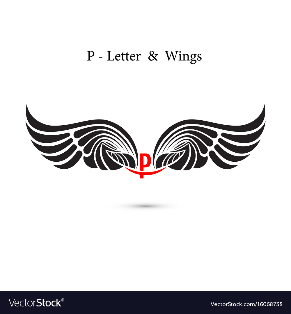 P-letter sign and angel wingsmonogram wing logo
