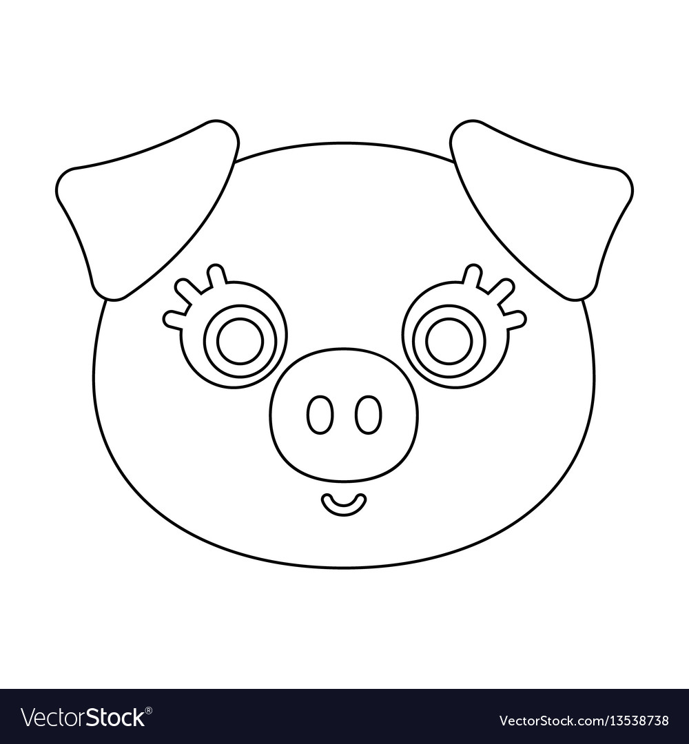 Pig muzzle icon in outline style isolated on white