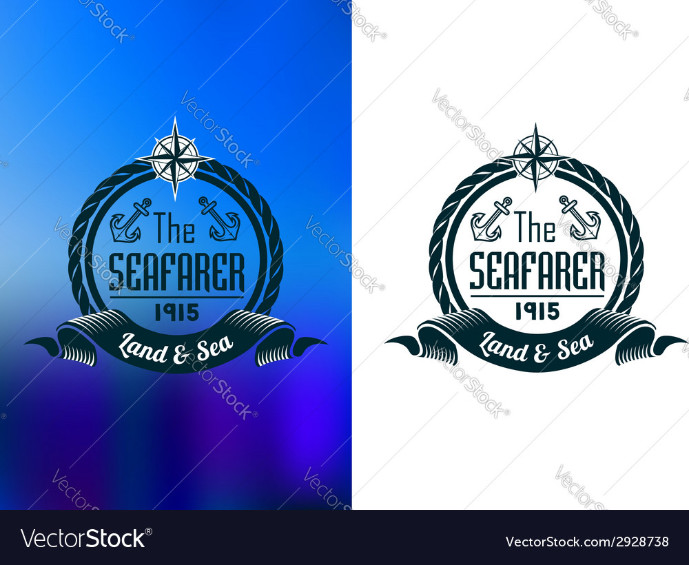 Retro seafarer tattoo or marine banner