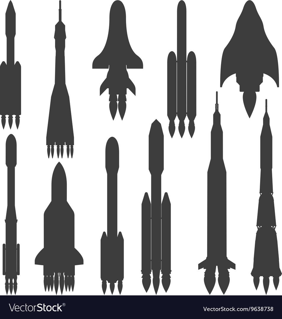 Rocket black silhouette icon isolated
