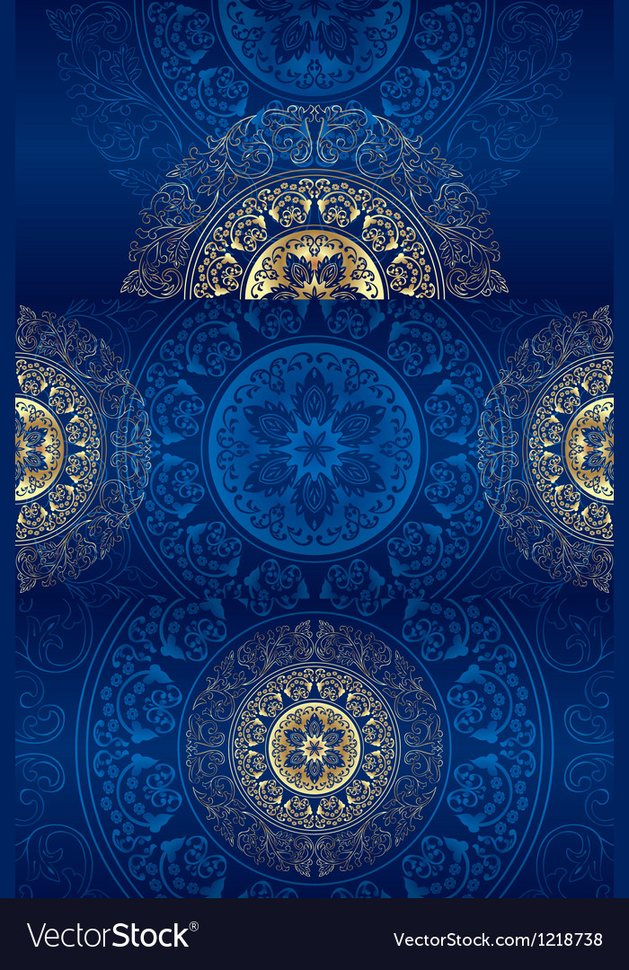 Set of blue vintage floral backgrounds