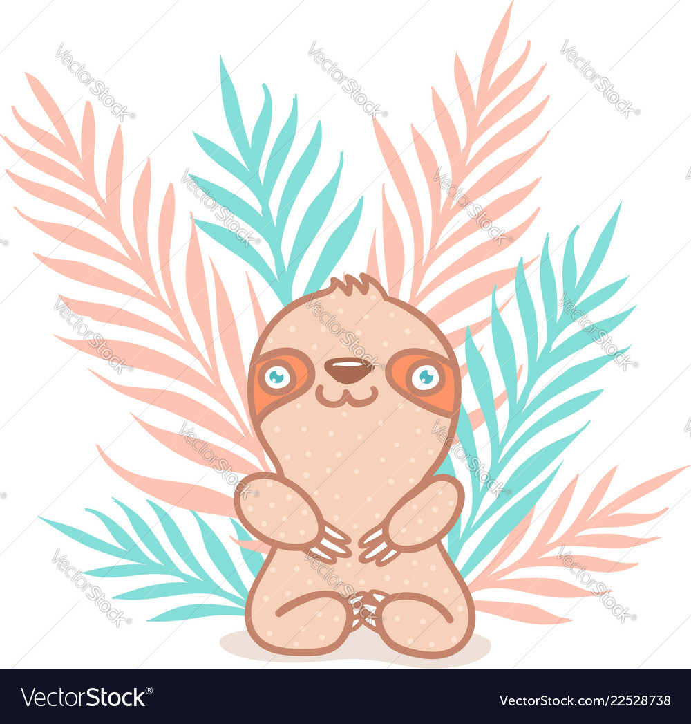Sloth and tropical plants