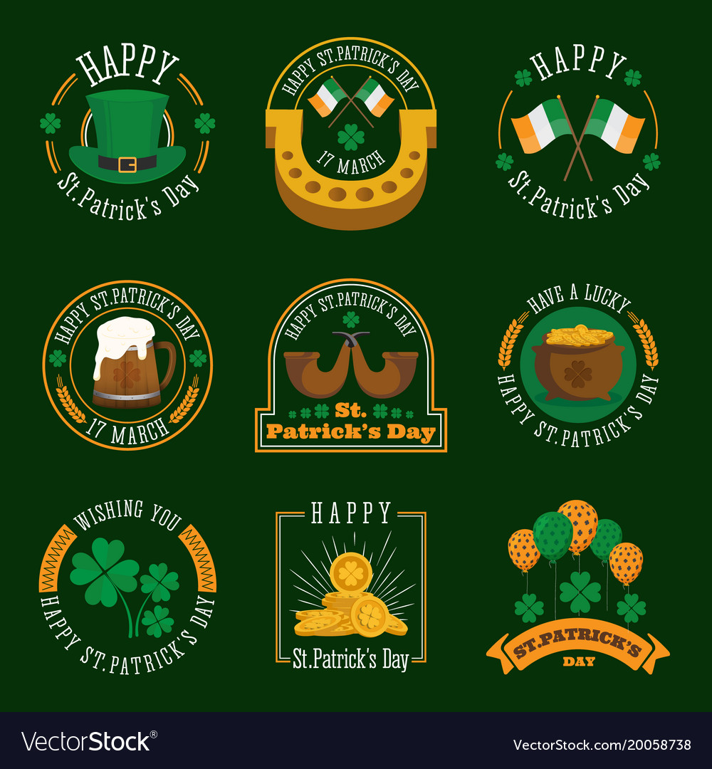 Stpatricks day badge and label collection
