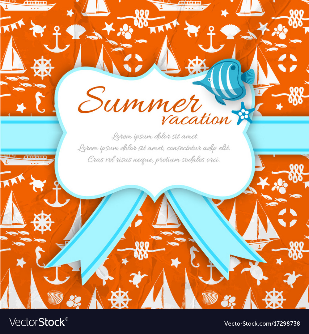 Summer vacation paper sign at orange sea pattern