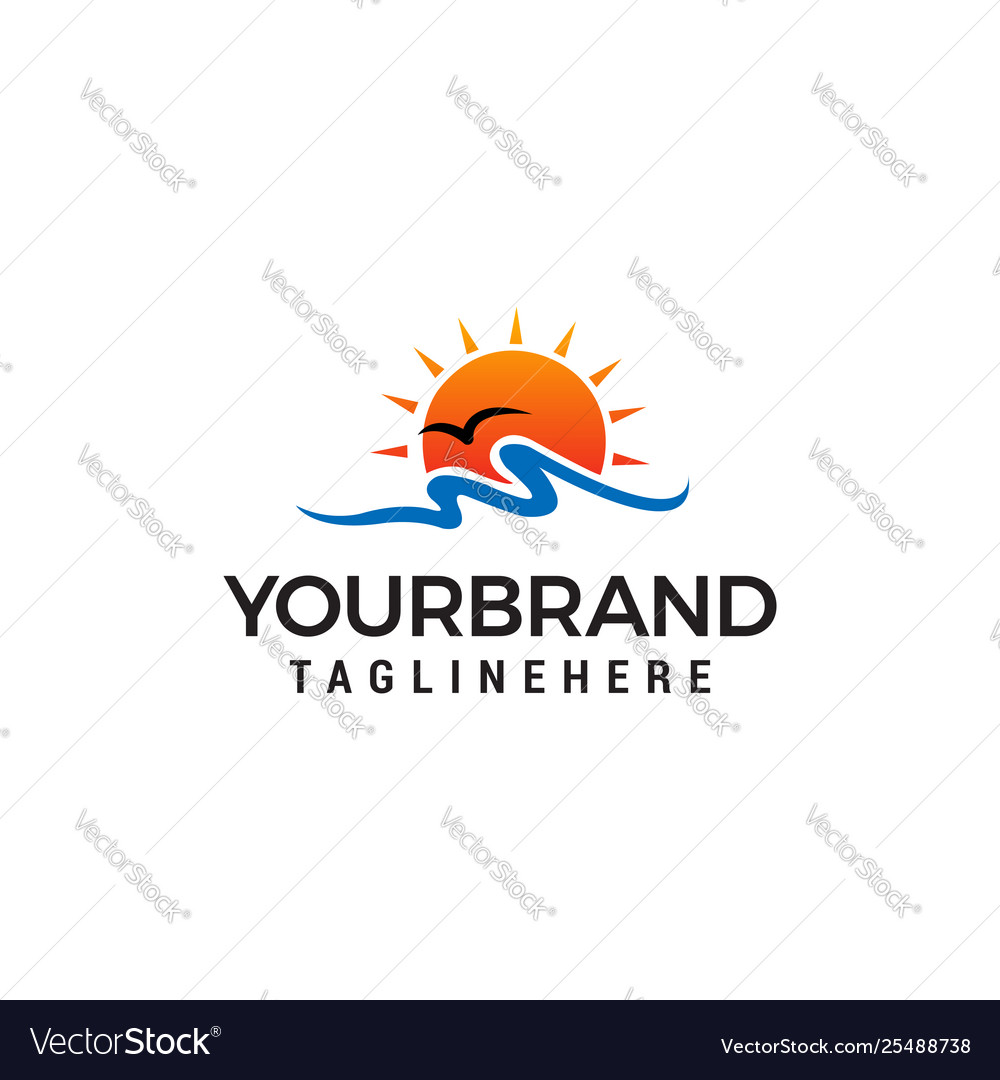 Sun beach logo design concept template