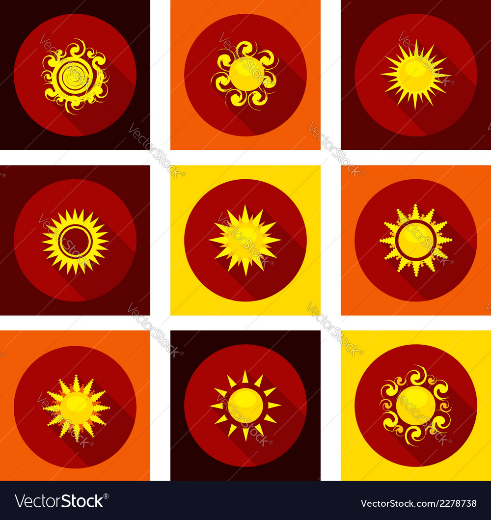 Sun icons set in flat style