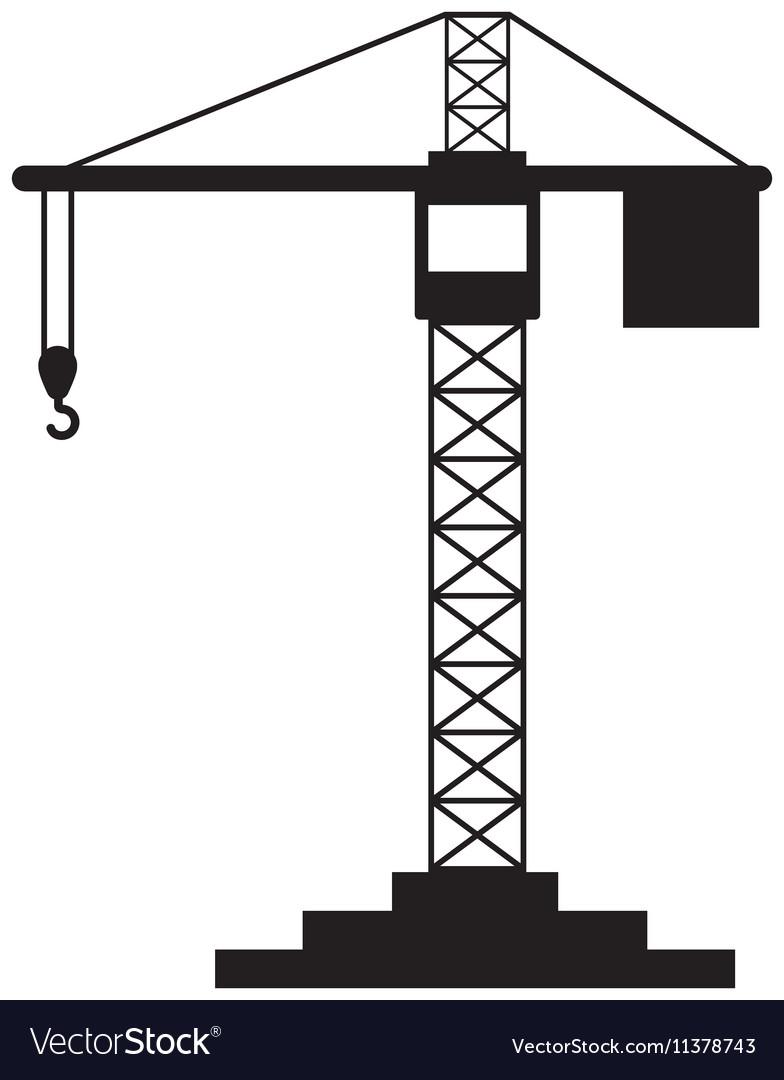 black silhouette construction tower crane vector image