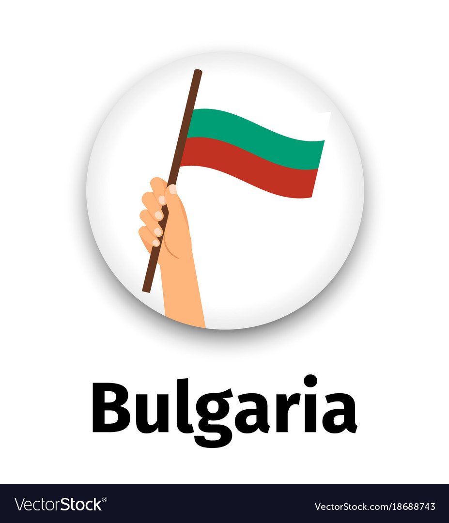 Bulgaria flag in hand round icon
